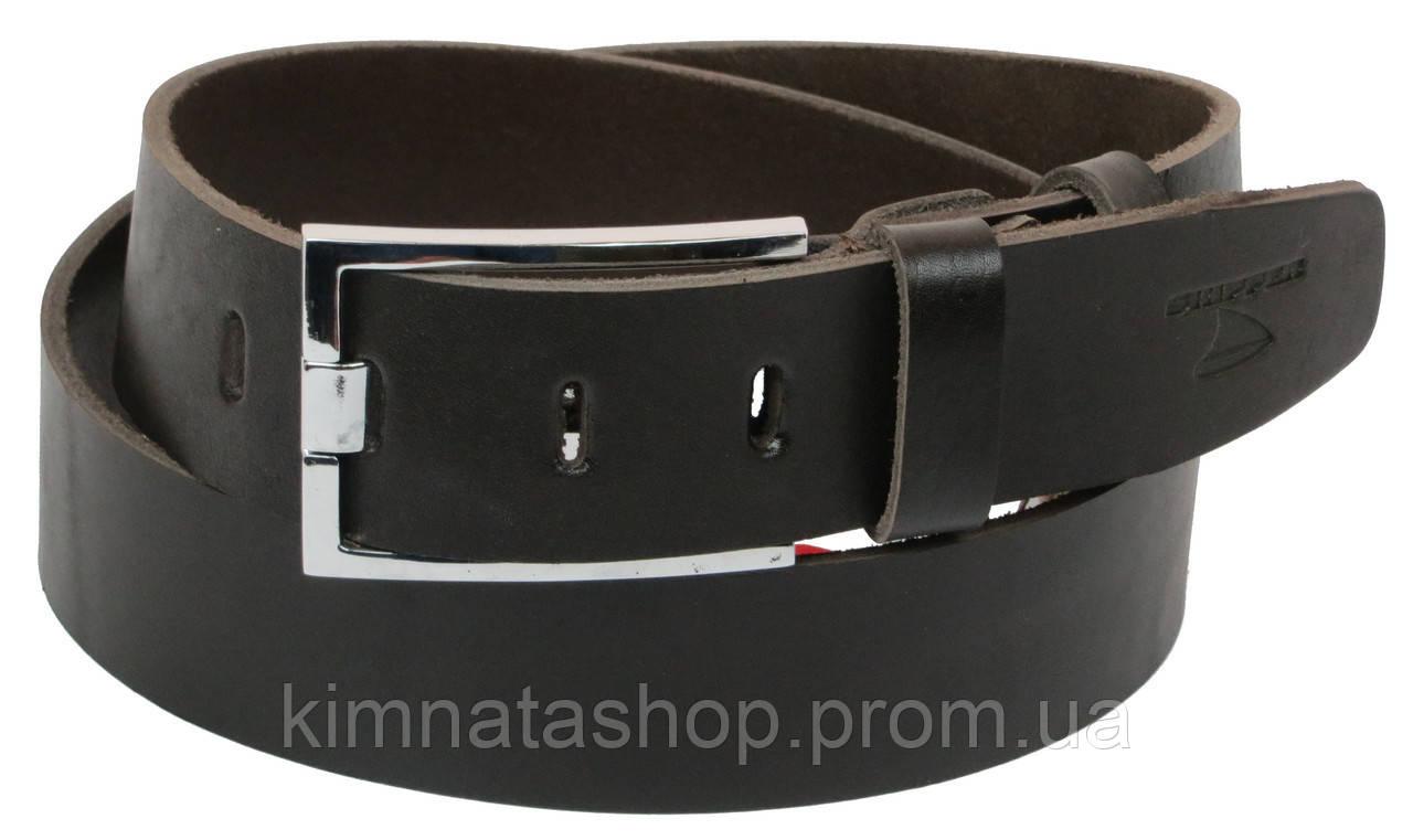 Мужской кожаный ремень под джинсы Skipper 1182-45 темно-коричневый ДхШ: 130х4,5 см.