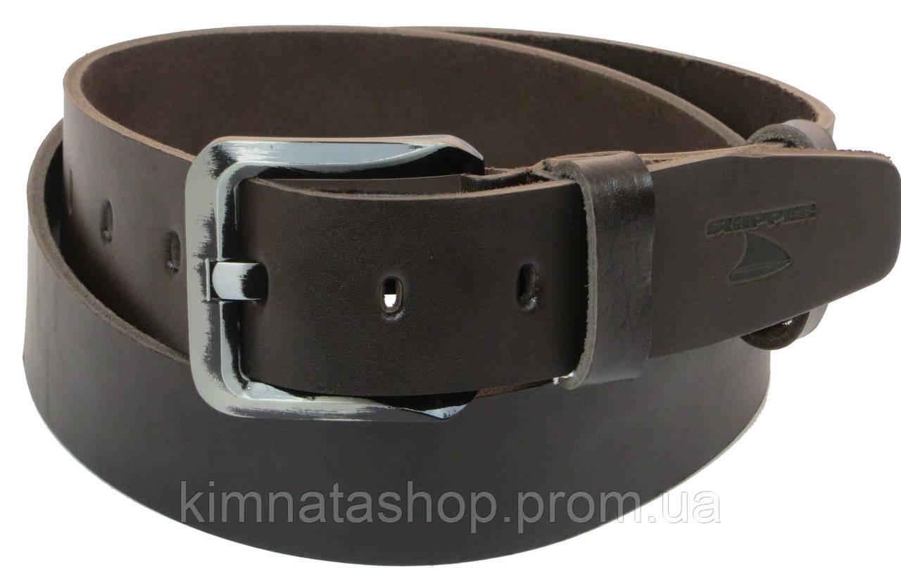 Мужской кожаный ремень под джинсы Skipper 1181-45 темно-коричневый ДхШ: 131х4,5 см.