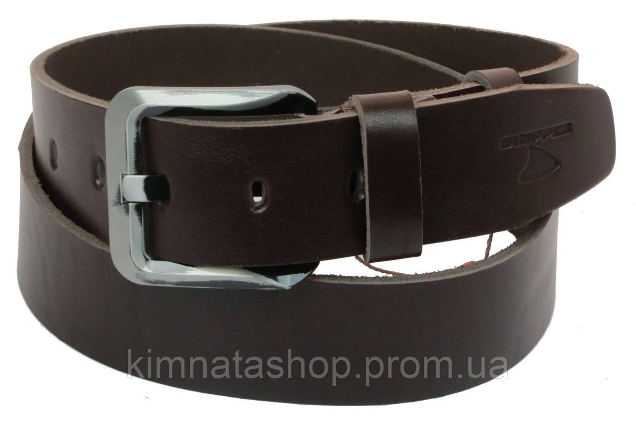 Мужской кожаный ремень под джинсы Skipper 1151-45 темно-коричневый ДхШ: 128х4,5 см.
