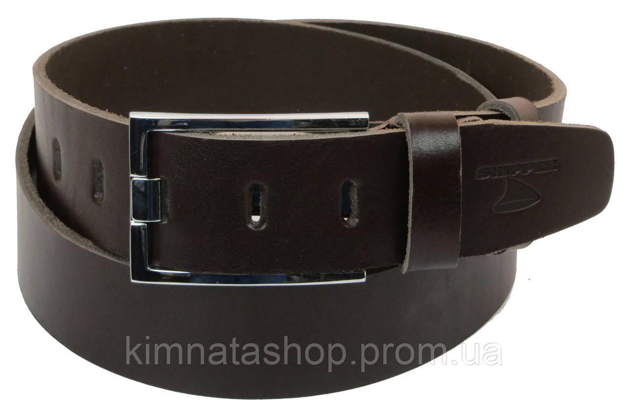 Мужской кожаный ремень под джинсы Skipper 1150-45 темно-коричневый ДхШ: 129х4,5 см.
