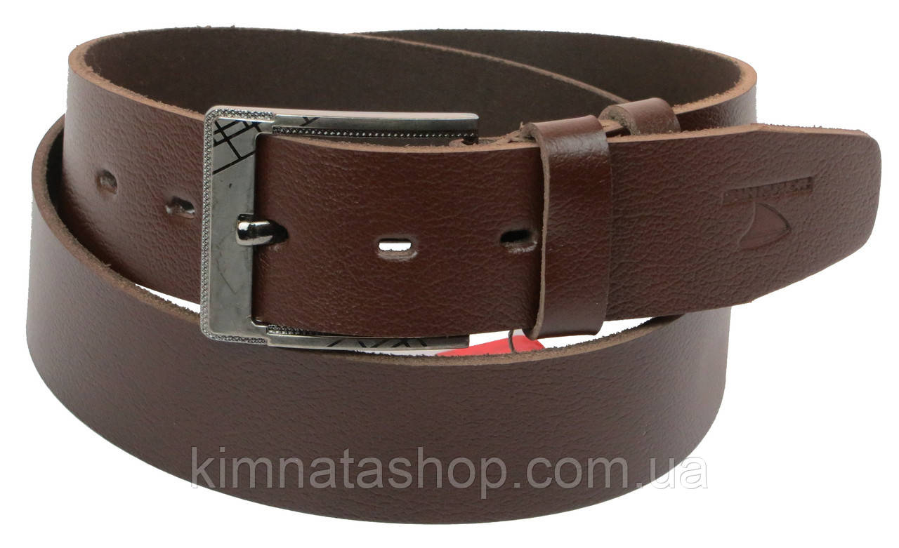 Мужской кожаный ремень под джинсы Skipper 1156-45 коричневый ДхШ: 135х4,5 см.