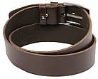Мужской кожаный ремень под джинсы Skipper 1156-45 коричневый ДхШ: 135х4,5 см., фото 3