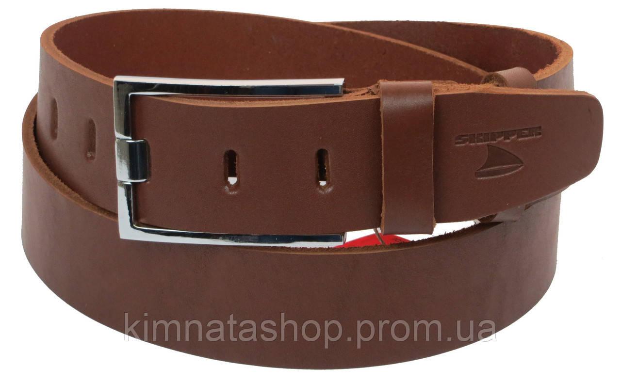 Чоловічий шкіряний ремінь під джинси Skipper 1184-45 коричневий ДхШ: 132х4,5 див.