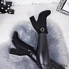 """Ботильоны на каблуке, черные ЗИМА """"Beuby"""" эко замша, повседневная, теплая, женская обувь, фото 3"""