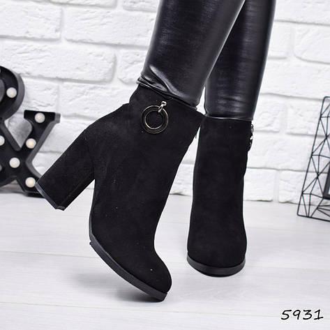 """Ботильоны на каблуке, черные ЗИМА """"Beuby"""" эко замша, повседневная, теплая, женская обувь, фото 2"""