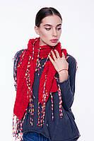 Женский вязаный шарф с бахромой