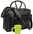 Мужская сумка-портфель кожаная Always Wild 0399-8662 черная 41х29х15 см., фото 2