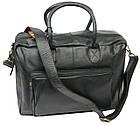 Мужская сумка-портфель кожаная Always Wild 0399-8662 черная 41х29х15 см., фото 3