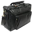 Мужская сумка-портфель кожаная Always Wild 0399-8662 черная 41х29х15 см., фото 5