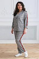 Donna-M Летний костюм в клетку (красная тесьма) АРИН серый , фото 1
