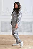 Donna-M Летний костюм в клетку (тесьма серебро) АРИН серый , фото 1