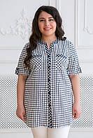 Donna-M Хлопковая рубашка в клетку АРМИНА белая , фото 1