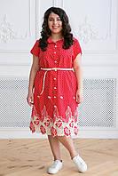 Donna-M Платье с купоном из прошвы Дерси  красное , фото 1