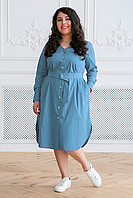 Donna-M Платье-рубашка с поясом ТЭССА серо-голубое , фото 1