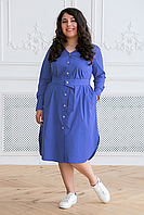 Donna-M Платье-рубашка с поясом ТЭССА голубое , фото 1