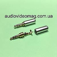 Штекер стерео 3.5 металлический, тонкий, цвет серебристый
