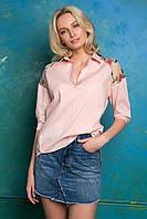 Donna-M Рубашка с кокеткой с вышивкой ALBA персиковая , фото 1