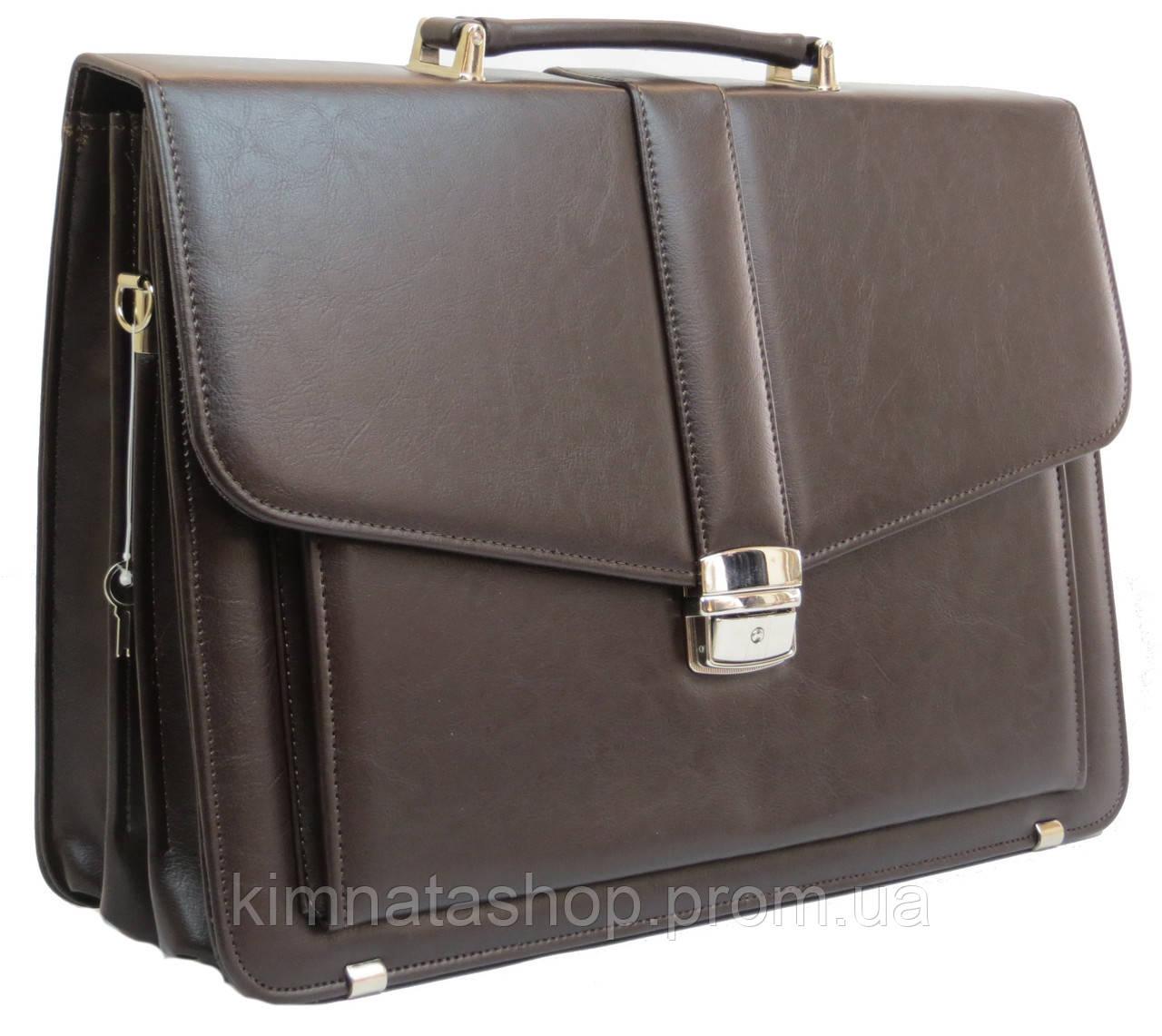 Классический мужской портфель из эко кожи AMO, Польша SST11 коричневый