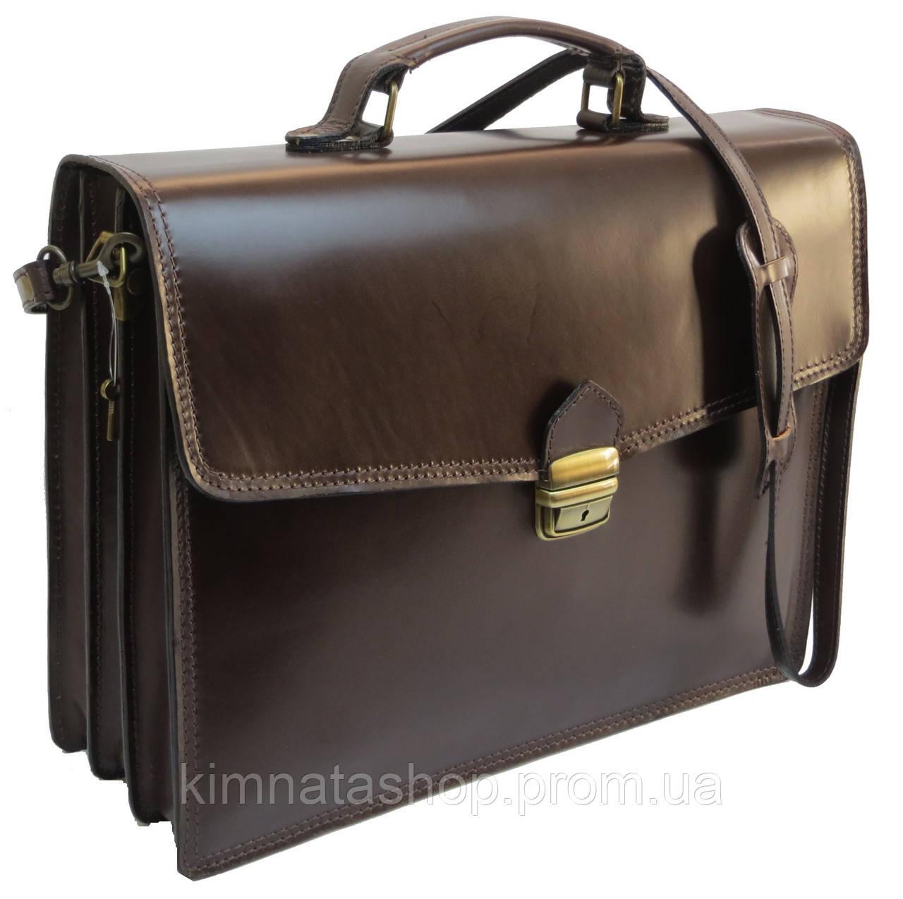 Портфель мужской из натуральной кожи TOMSKOR 81567 коричневый