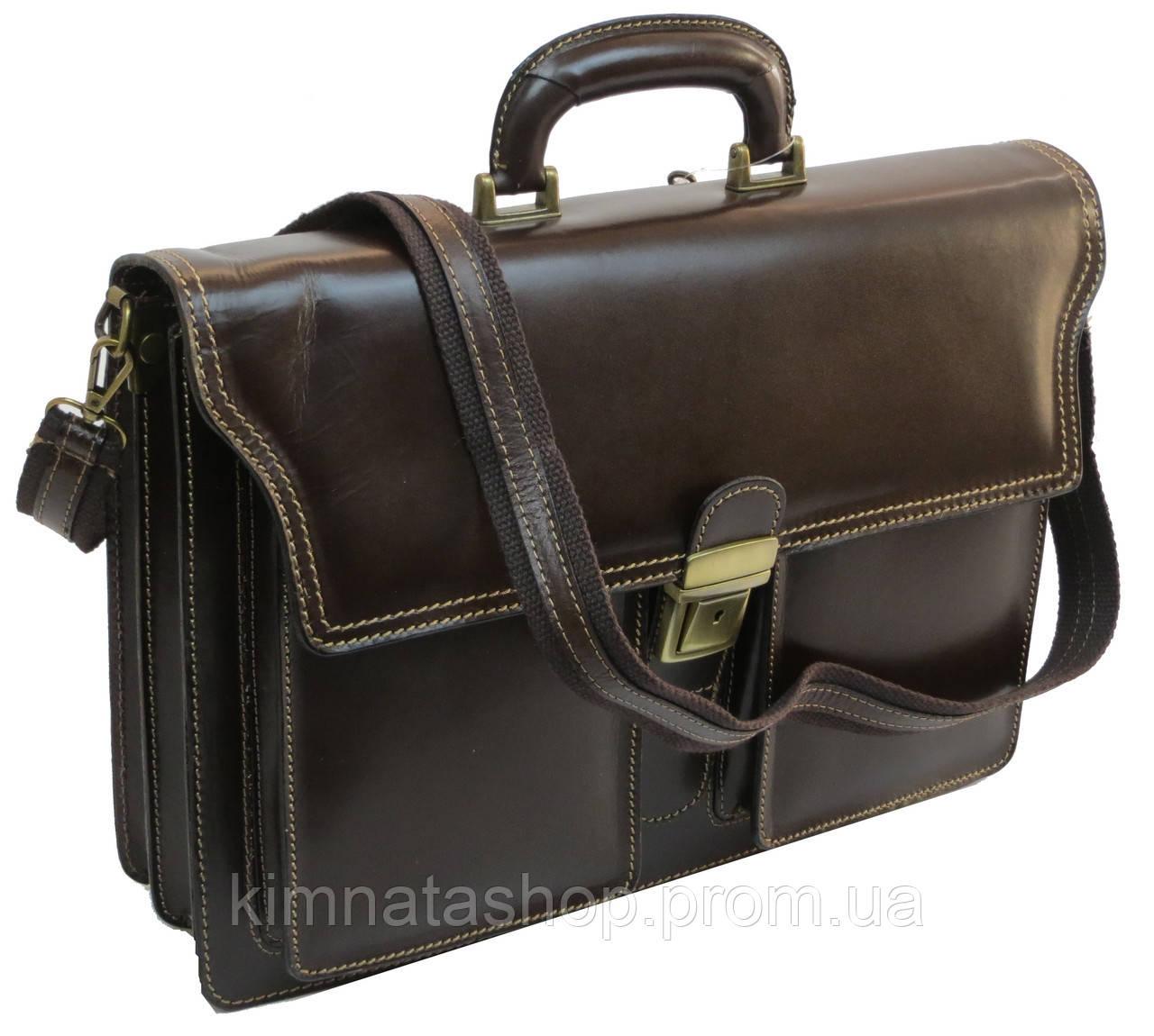Портфель мужской из натуральной кожа TOMSKOR 81572 коричневый