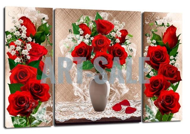Картина Триптих  Красные розы