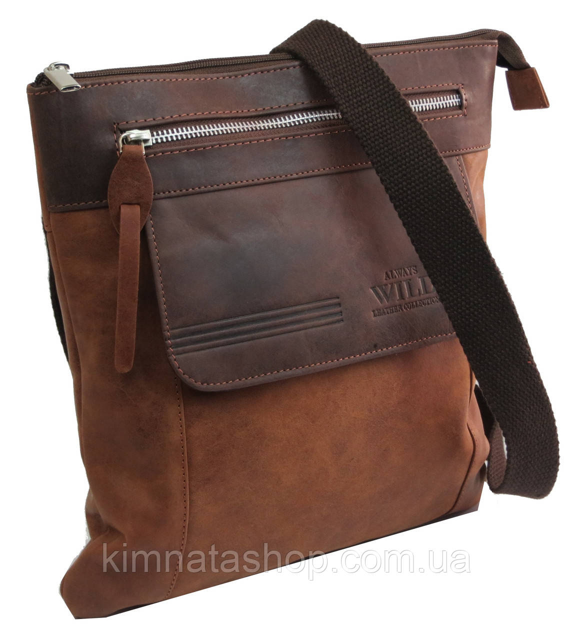 Вертикальная мужская кожаная сумка Always Wild BAG4HB