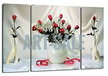 Картина Триптих  Розы на Белом