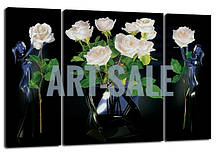 Картина Триптих  Розы Белые
