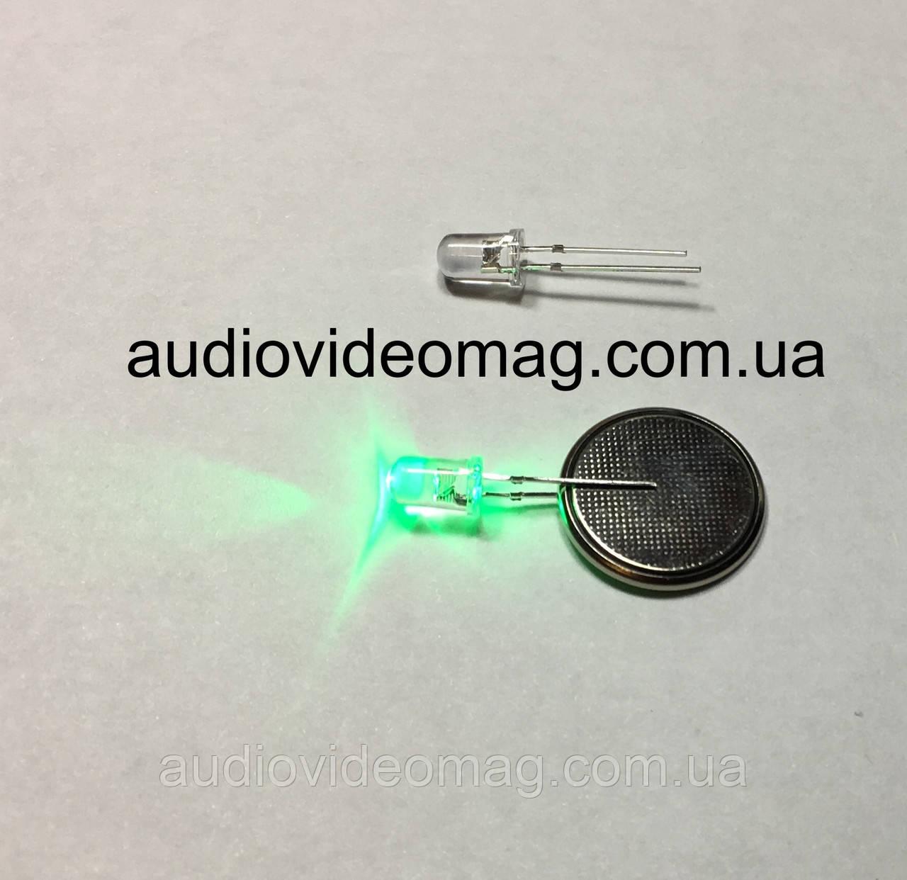 Світлодіод 3V 5 мм, прозорий, колір зелений