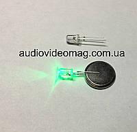 Светодиод 3V 5 мм, прозрачный, цвет зеленый
