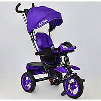 Детский трехколесный Велосипед Best Trike 6699 Фиолетовый черная рама,надувные колеса