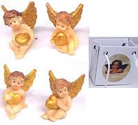 """Статуэтка керамика в сумочке 01801B """"Ангел с золотым сердцем"""" 4вида уп24"""