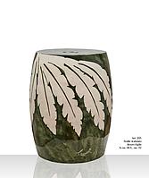 Керамическая основа с перфорацией с кремовыми листьями на зеленом фоне