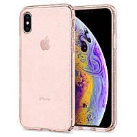 Чехол Spigen для iPhone X Liquid Crystal Glitter, Rose Quartz (057CS22654), фото 1