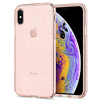 Чехол Spigen для iPhone X Liquid Crystal Glitter, Rose Quartz, фото 1