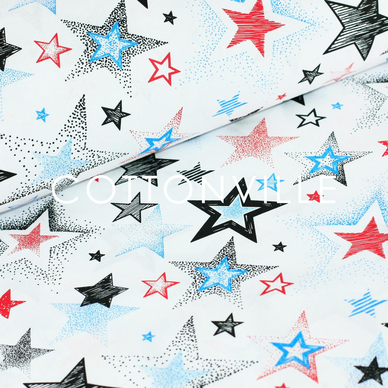 Бязь Звезды красно-синие на белом
