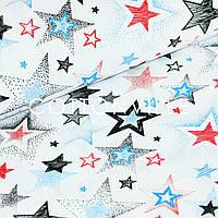 ✁ Отрезы Бязи Звезды красно-синие на белом