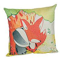 Подушка декоративная для дивана Лиса и Барсук 45 х 45 см