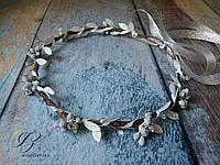 Серебристый венок на голову с розами и кристаллами ручная работа, фото 1