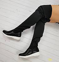 f2dc7a32ce3e Качественные демисезонные женские сапоги ботфорты на платформе черные,  женская обувь весна осень
