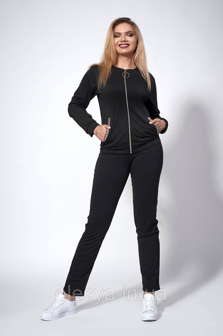 Женский трикотажный костюм. Код модели КТ-15-43-18. Цвет черный.