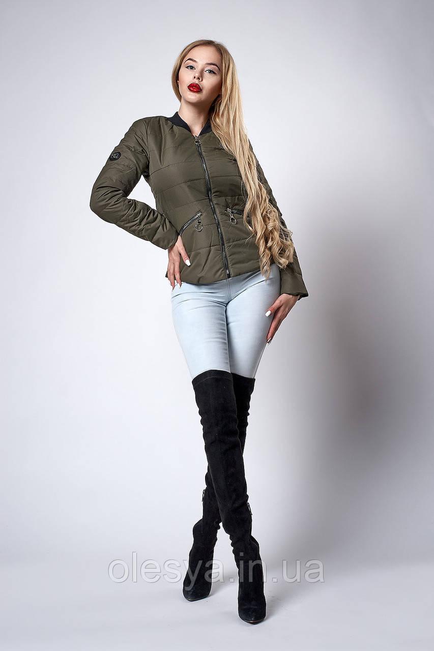 Женская молодежная демисезонная куртка. Код модели К-116-36-18. Цвет хаки.