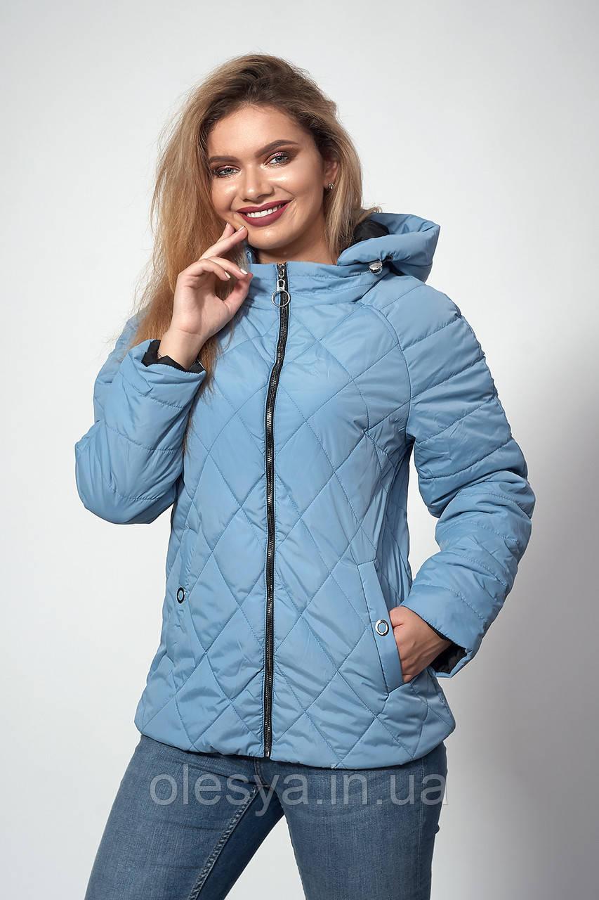 Женская демисезонная куртка. Код модели К-120-37-18. Цвет серо-голубой.