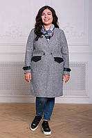 Donna-M Пальто без воротника ГРЕЙС серое , фото 1