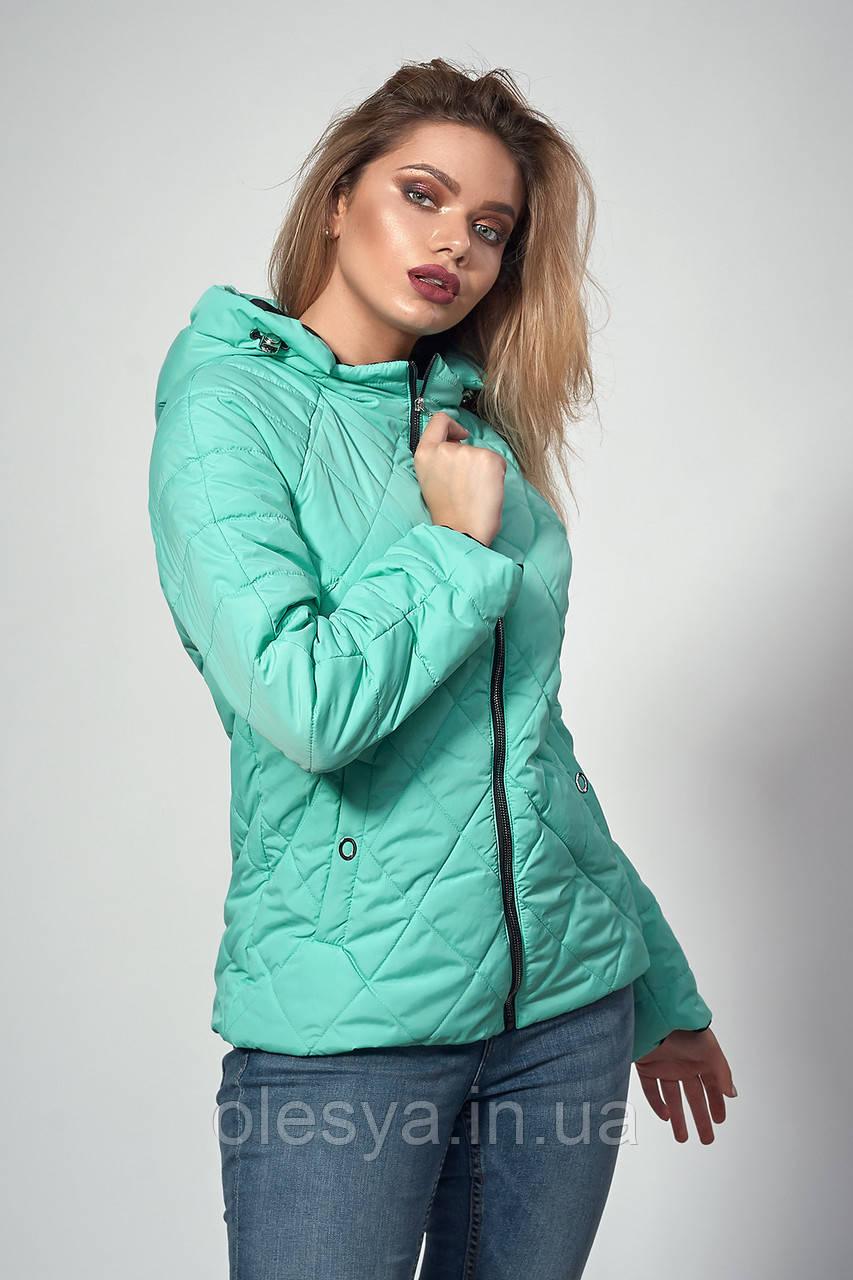 Женская демисезонная куртка. Код модели К-120-37-18. Цвет бирюза.