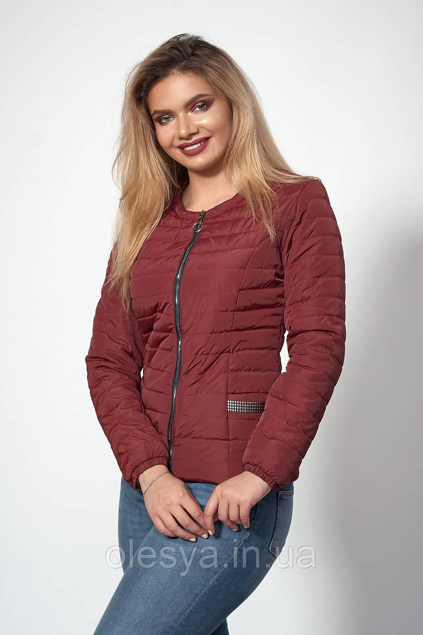 Женская демисезонная куртка. Код модели К-122-37-18. Цвет марсала.