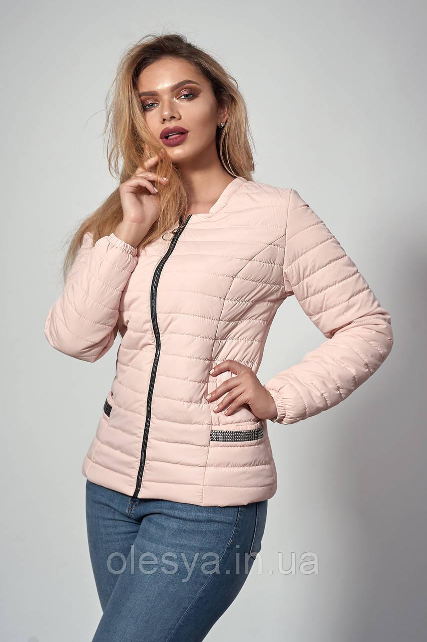 Женская демисезонная куртка. Код модели К-122-37-18. Цвет пудра. Размеры 46- 52