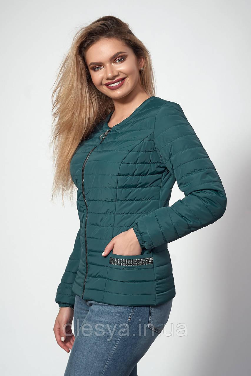 Женская демисезонная куртка. Код модели К-122-37-18. Цвет изумруд.