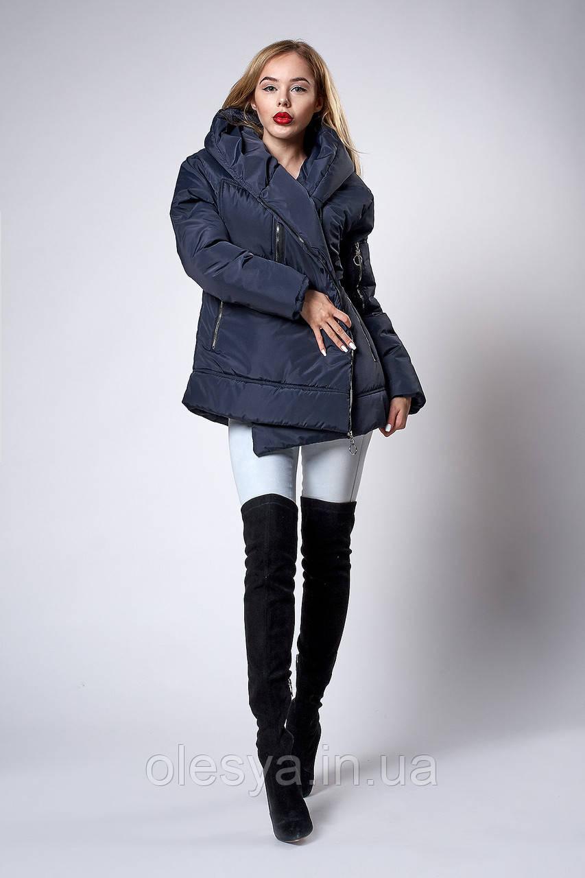 Женская молодежная демисезонная куртка. Код модели К-123-38-18. Цвет темно синий.