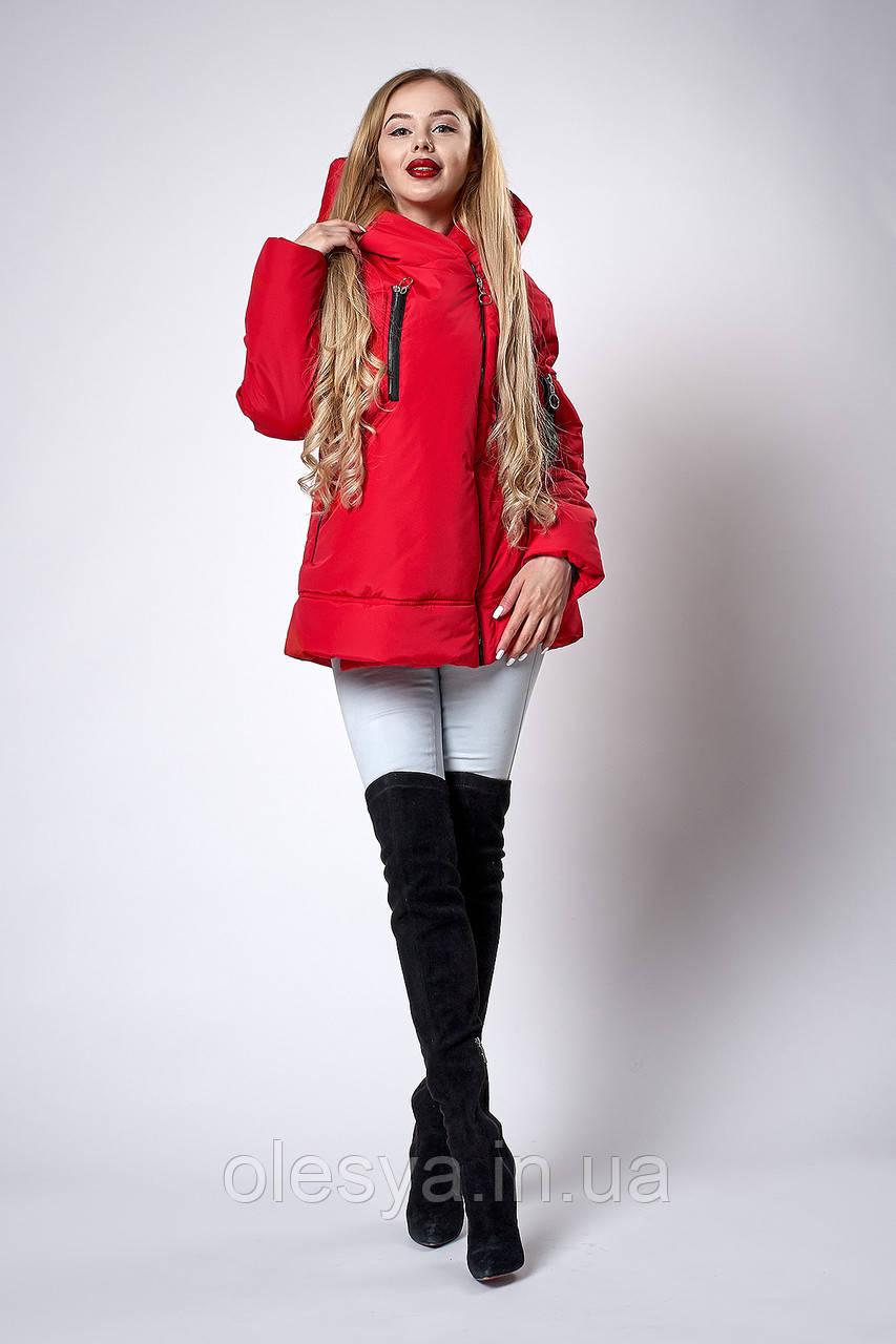 Женская молодежная демисезонная куртка. Код модели К-123-38-18. Цвет красный.